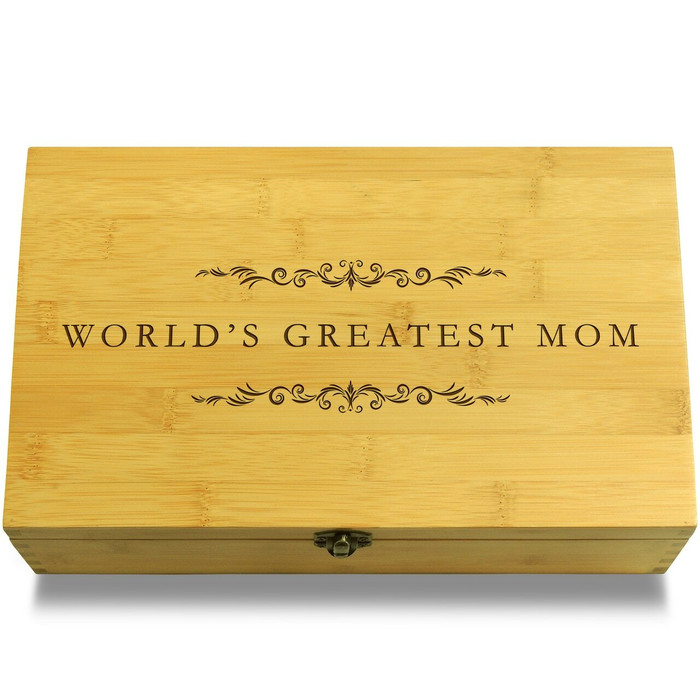 World's Best Mom Filigree Wood Chest Lid