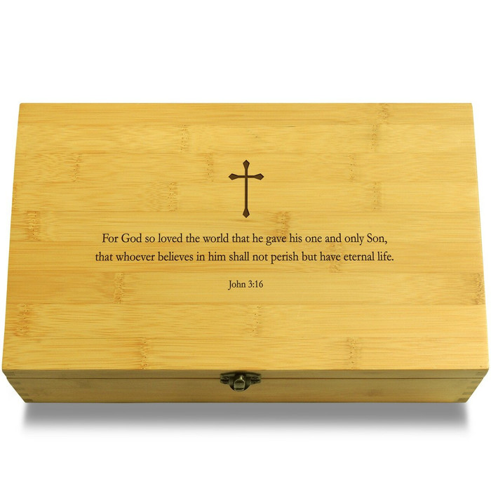 John 3:16 Quote Wood Chest Lid