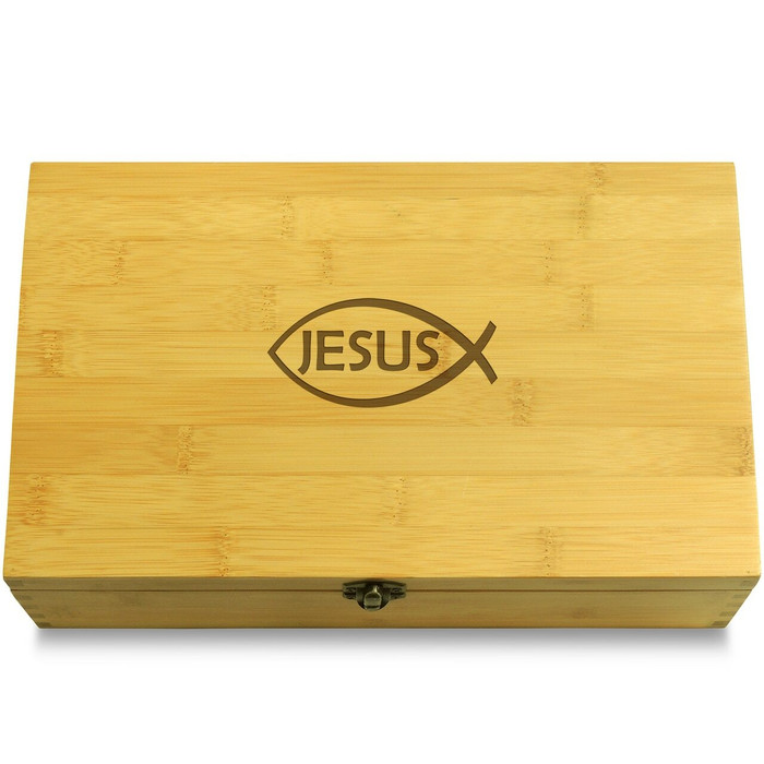 Ichthys Fish Jesus Wooden Chest Lid