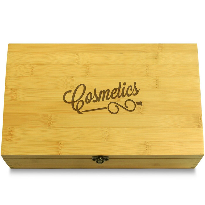 Cosmetics Curly Font Wooden Chest Lid