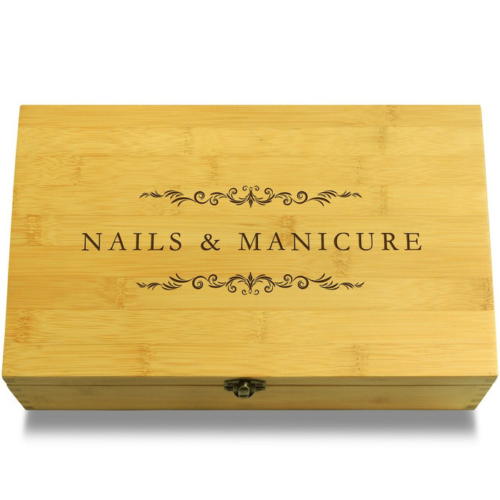 Fake Nails Organizer Wooden Chest Lid