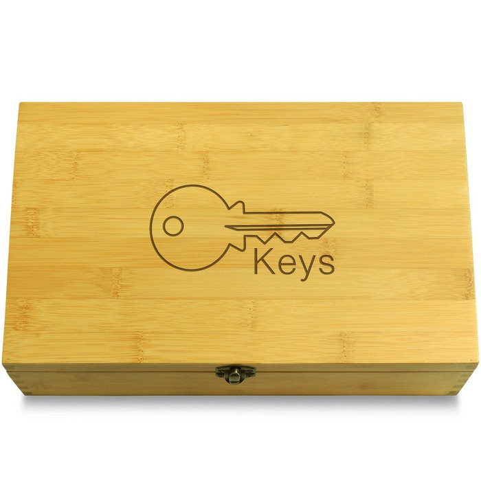 Modern Key Organizer Wooden Chest Lid