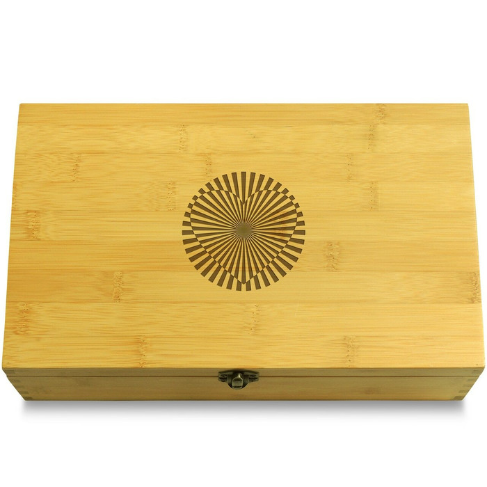 Heart Optical Illusion Wooden Chest Lid