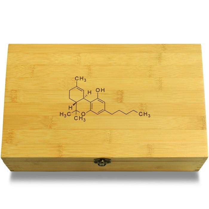 Marijuana Molecule Wood Chest Lid