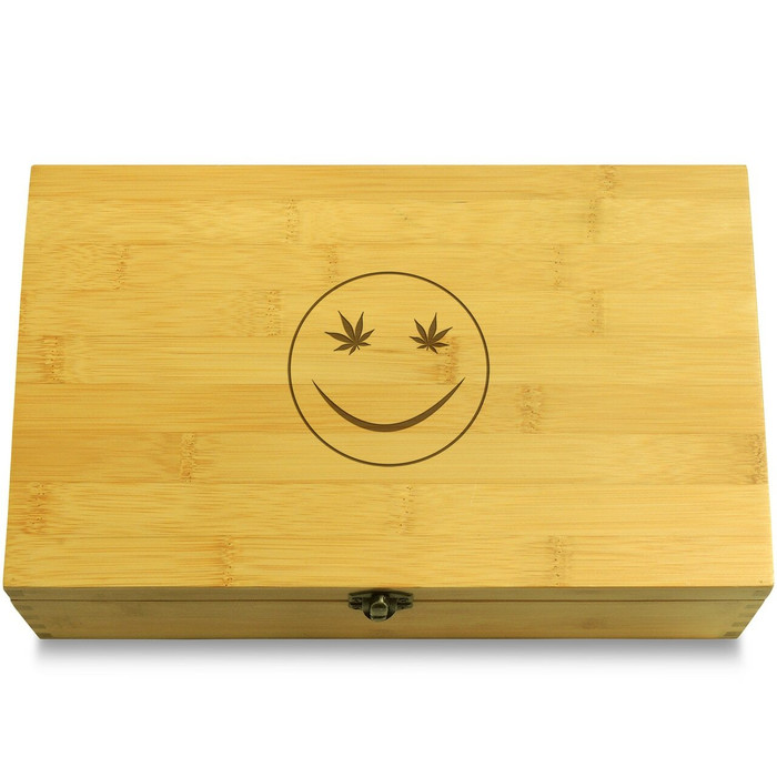 Smily Face Marijuana Wooden Chest Lid