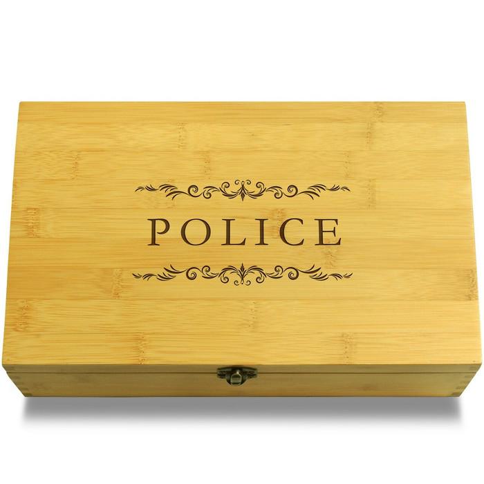 Police Mementos Wood Chest Lid