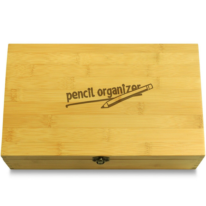 Pencil Supplies Organizer Wood Chest Lid
