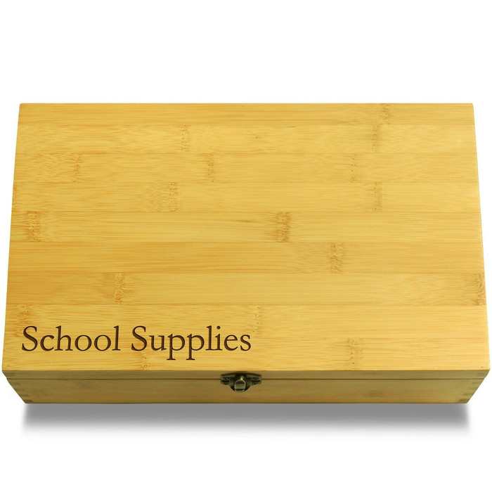 School Supplies Wooden Chest Lid