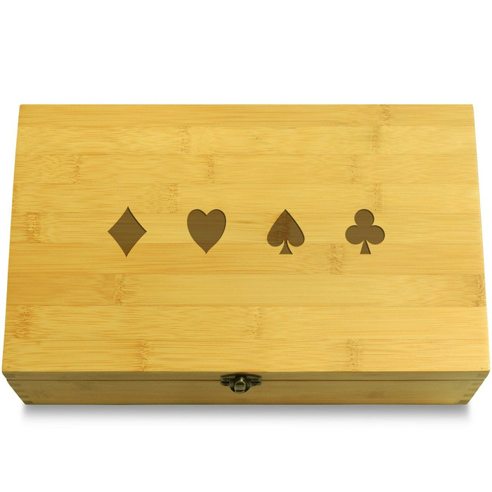 Poker Card Symbols Wooden Box Lid