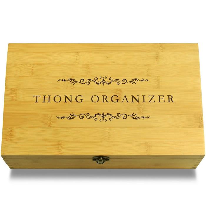 Thong Organizer Wooden Box Lid
