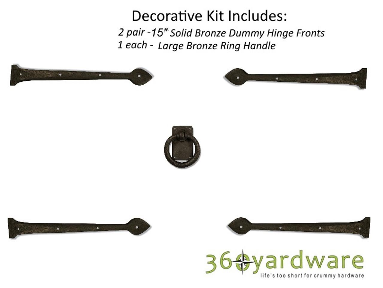 Bronze Traditional Style Decorative Garage Door Kit 360 Yardware