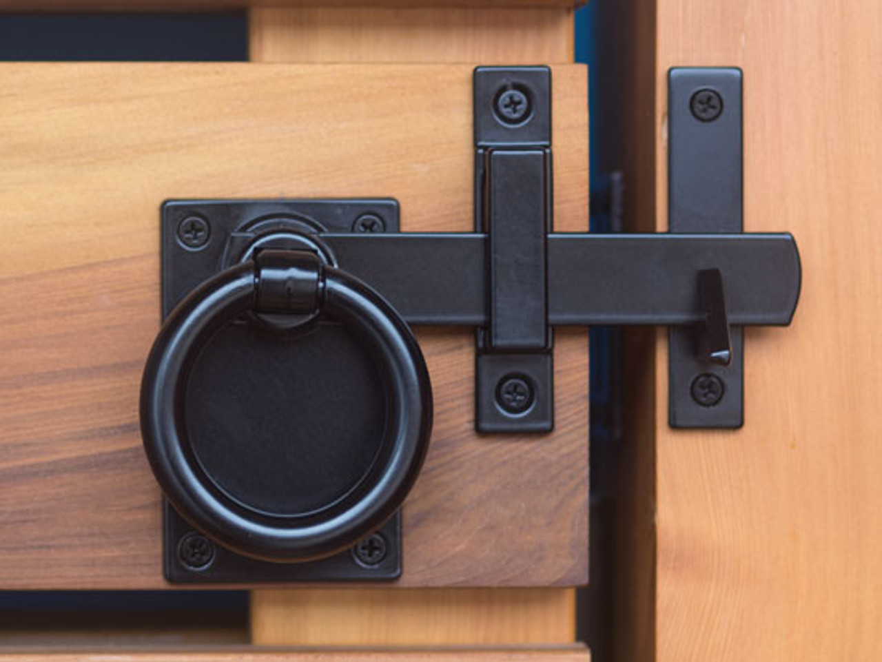 Contemporary Ring Gate Latch Set Satin Black 360 Yardware