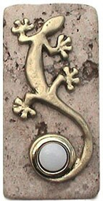Gecko Doorbell Button In Multiple Finish On Narrow Stone