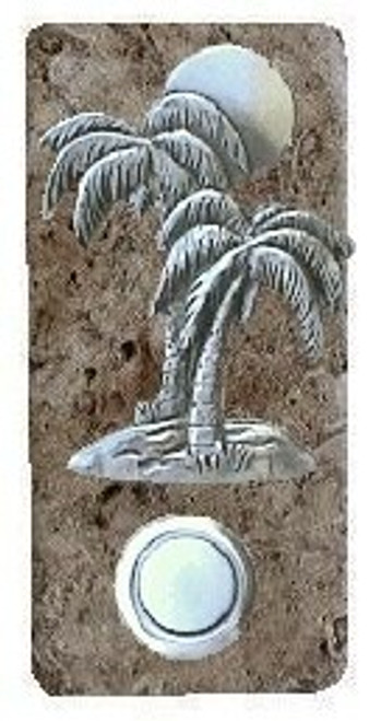 Palm Tree Doorbell Button In Pewter On Narrow Stone 360
