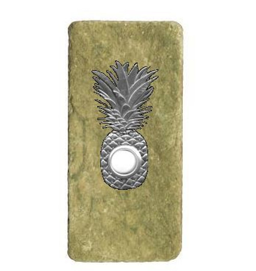 Pineapple Doorbell Button In Pewter On Narrow Stone 360