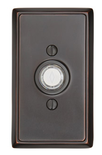 Brass Doorbell Button With Rectangular Rosette 360 Yardware