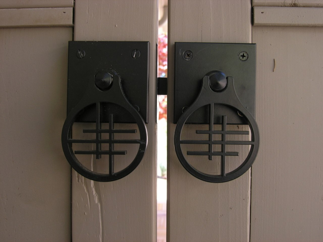 Asian Inspired Design Gate Hardware Package Installed Double Gate Closeup