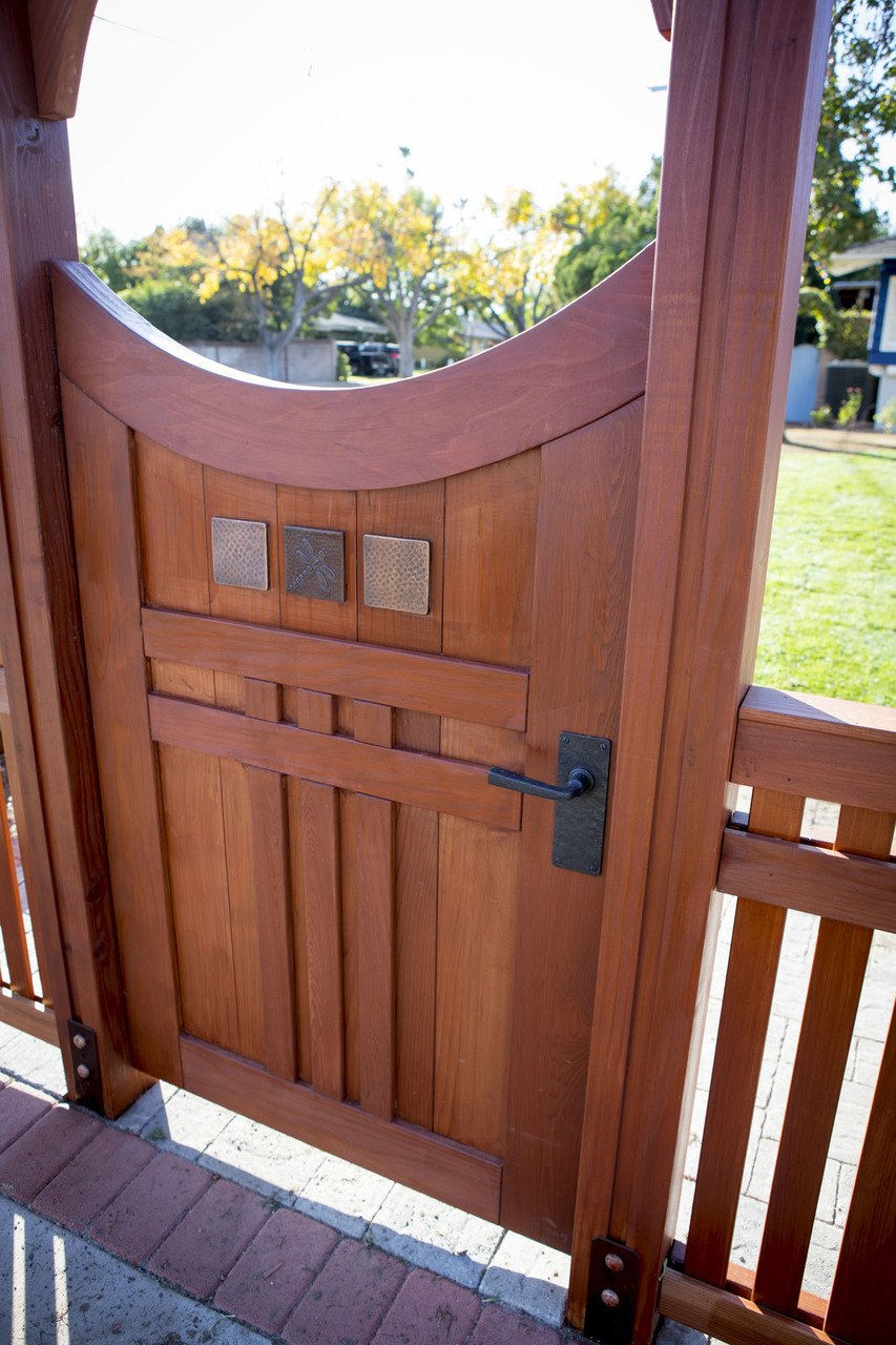 Coastal Bronze 8 Inch Square Plate With Lever Latch On Gorgeous Craftsman Gate 11010 60360