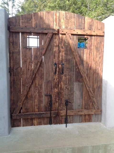 Coastal Bronze Cane Bolt Hardware 80 100 On A Double Wooden Gate