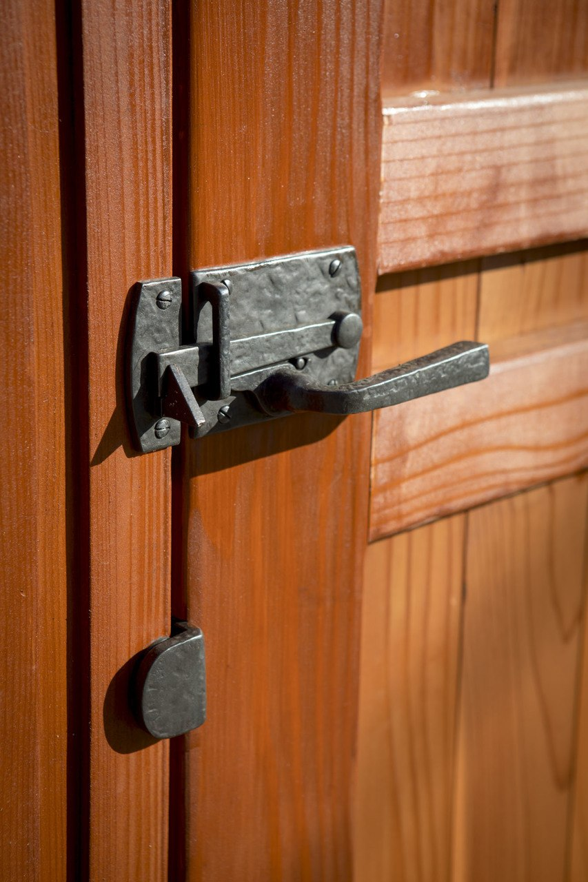 Coastal Bronze Contemporary Gate Latch 60-360 On Wood Gate With Gate Stop