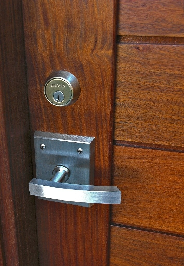 Contemporary Alta Stainless Steel Gate Latch on Wood Gate built by Lido Gates