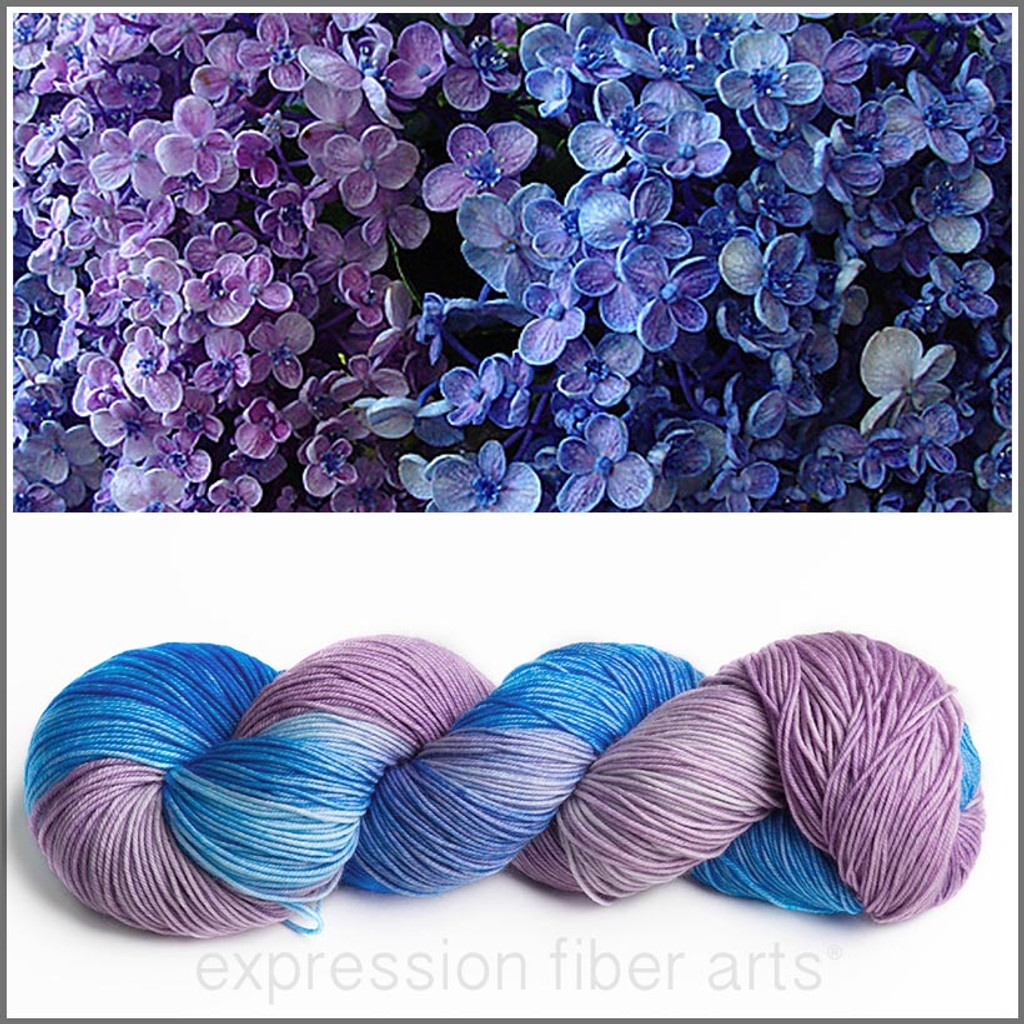 Hydrangea Bouquet Resilient Superwash Merino Sock Expression
