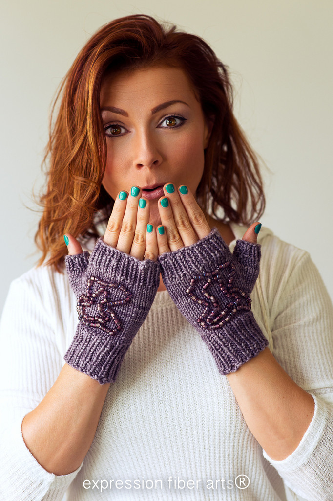 Beaded Fingerless Mitts Knitted Pattern