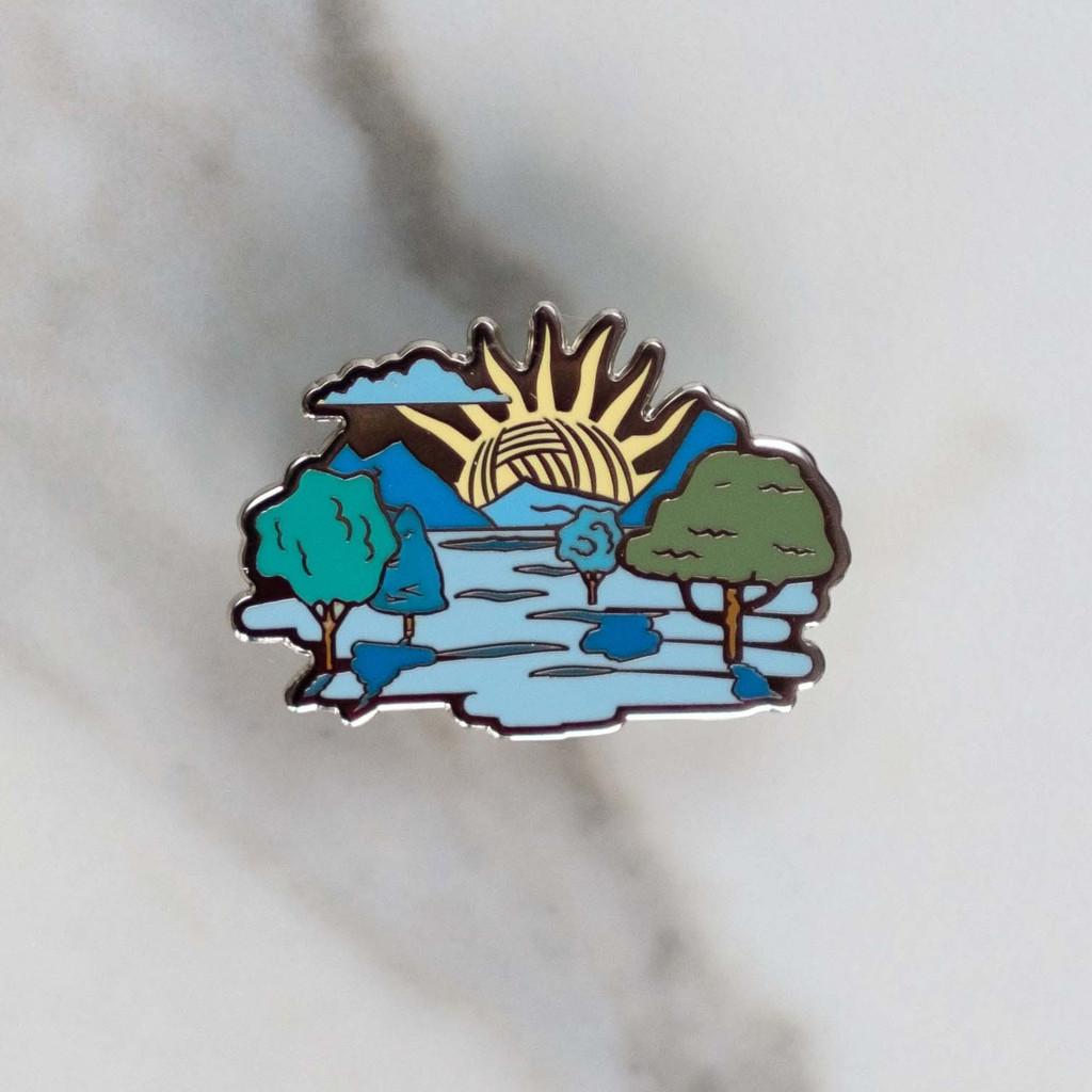 Yarn Sun Enamel Pin