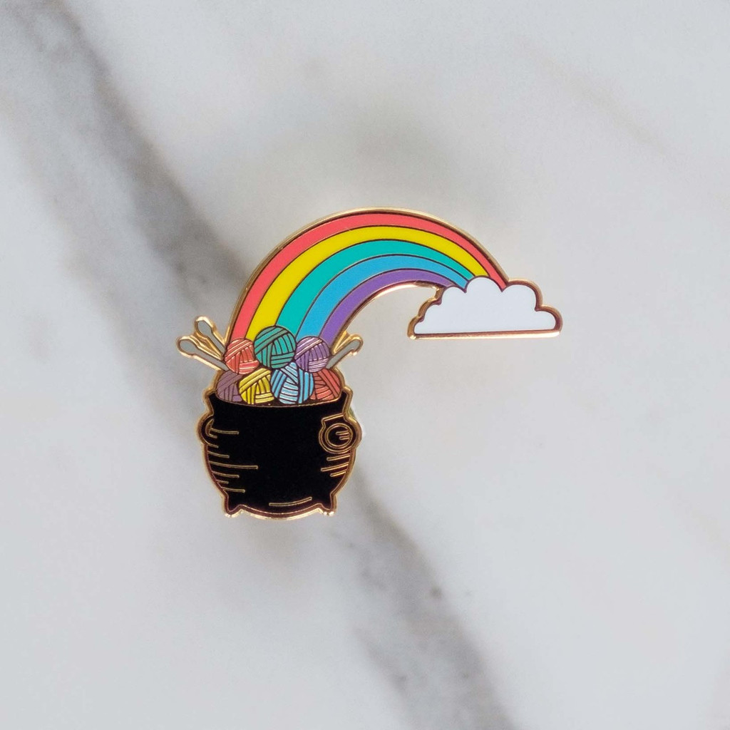 Pot Of Yarn at the End of the Rainbow Enamel Pin