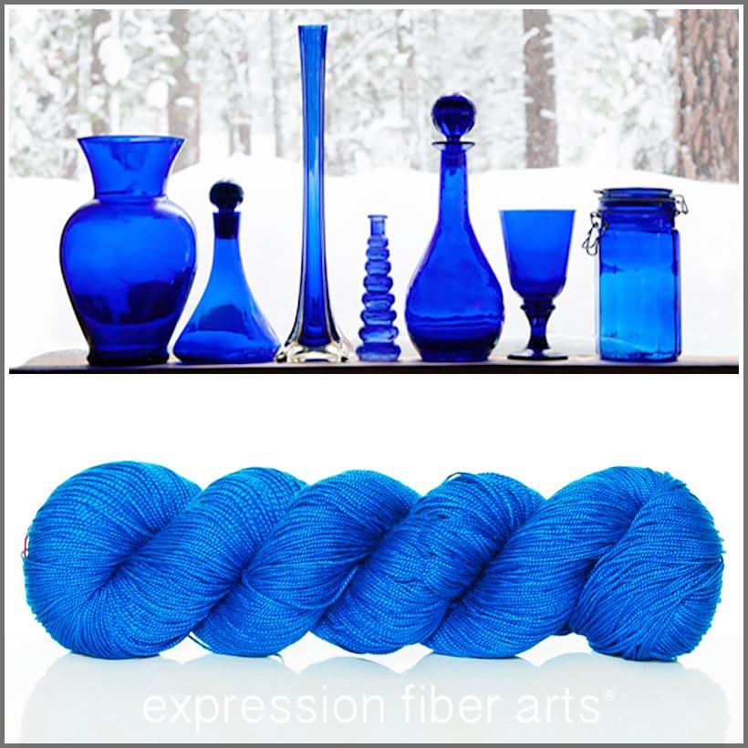 Cobalt Vases Dream Silk Lace Expression Fiber Arts Inc