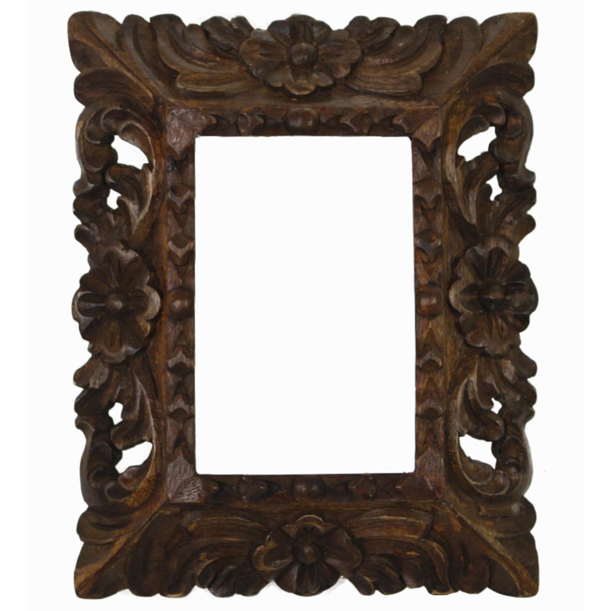 Cedar Wood Frame Handmade Handcarved Design - 9.5\