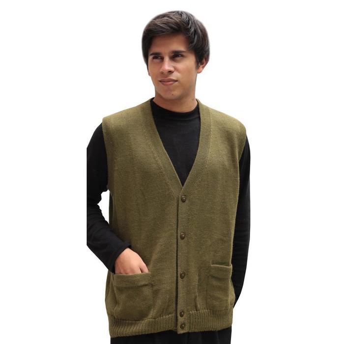 Mens Superfine Alpaca Wool Button Down Golf Vest Size L Leaf Green (04D-064-638L)