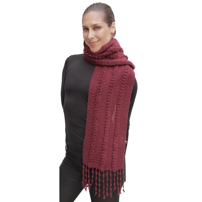 Superfine Alpaca & Merino Wool Handknit Scarf Burgundy (06H-015-843)