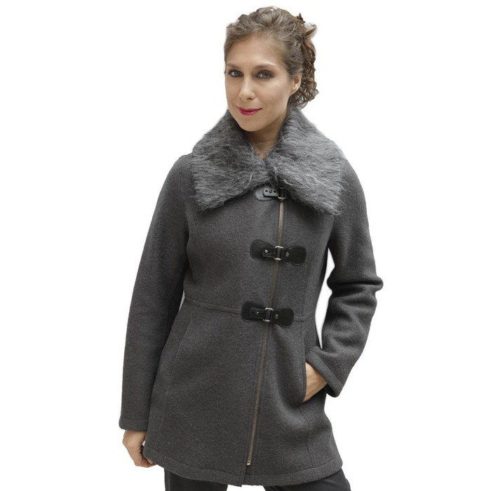 Women's Alpaca & Merino Wool Assymetric Zip Faux Fur Accent Coat Size M Gray (11F-003M)