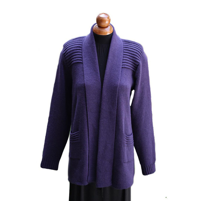 Women's Alpaca Wool Coat Sz L Purple (11H-017-642L)