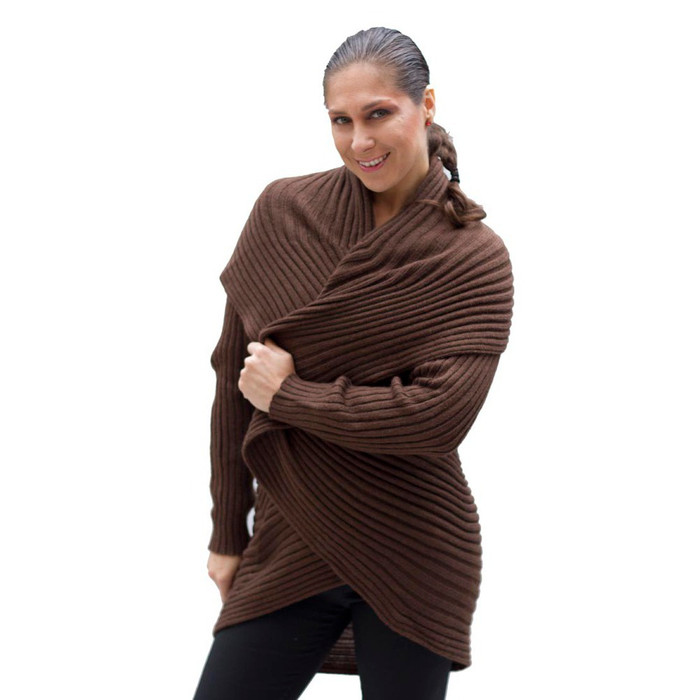 Alpaca Wool Coat Brown SZ L (11K-014-890L)