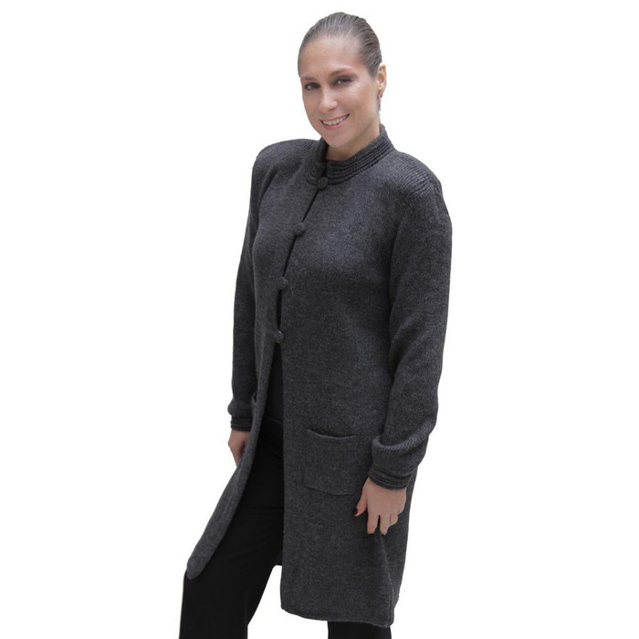 Women's  Alpaca Wool Four-Button Knitted Long Coat Sweater