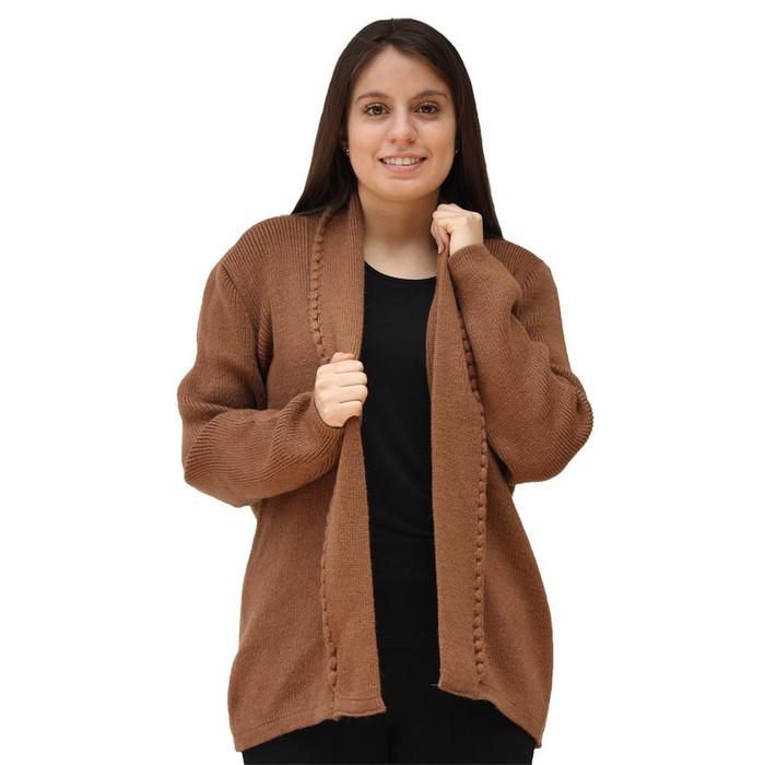 Women's Alpaca Wool Crochet Edge Coat Size M Camel (11T-012-205)