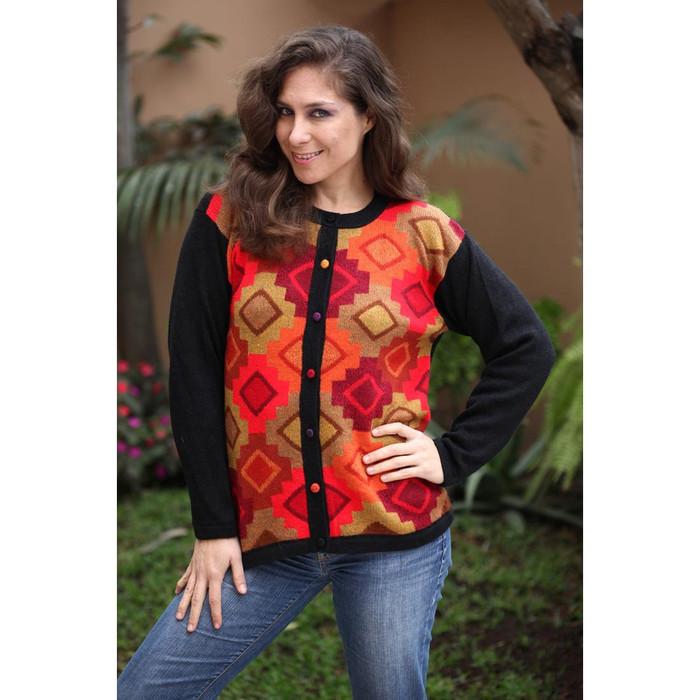 Womens Superfine Alpaca Wool CHACANA Intarsia Cardigan Sz M (12-033-09362)