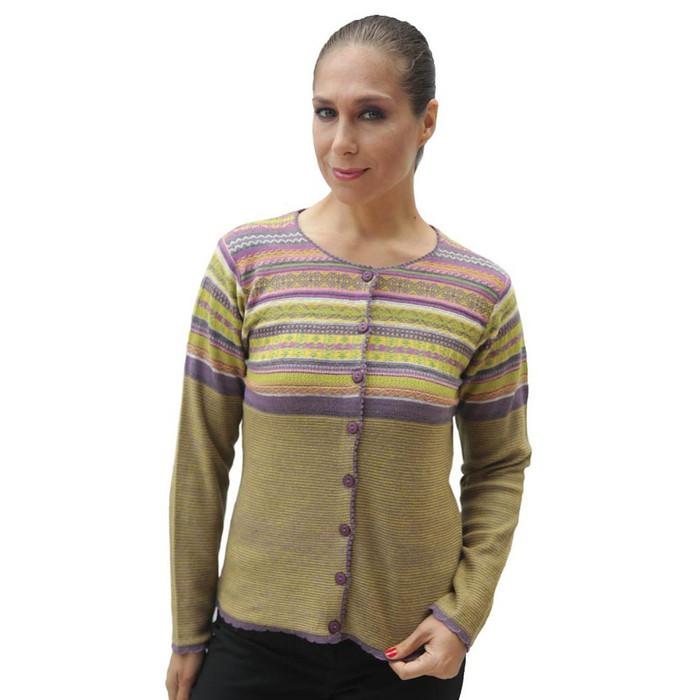 Womens 100% Baby Alpaca Wool Cardigan Sweater Size L (12C-039L)