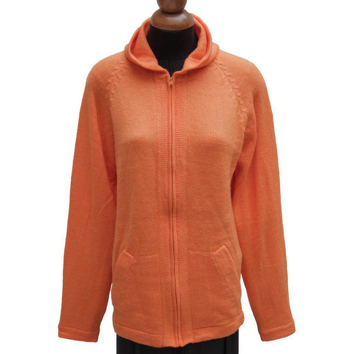 Hooded Alpaca Wool Jacket SZ L Orange