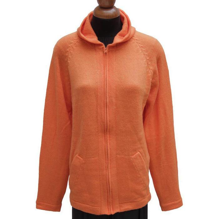 Hooded Alpaca Wool Jacket SZ L Orange
