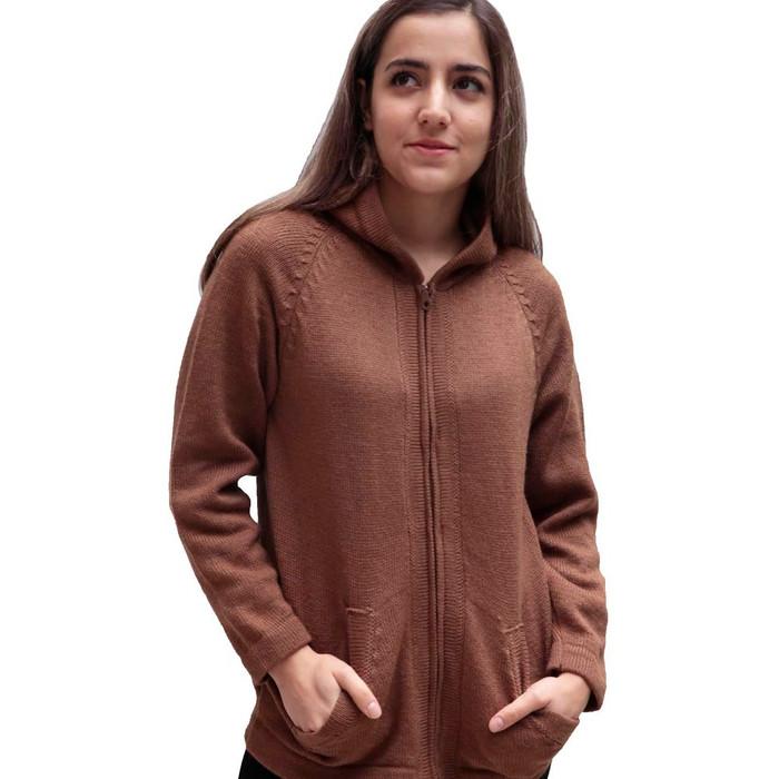 Hooded Alpaca Wool Jacket SZ M Camel