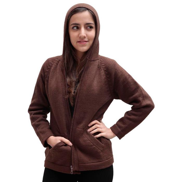 Hooded Alpaca Wool Jacket SZ S Brown