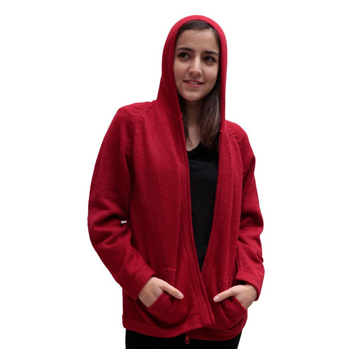 Hooded Alpaca Wool Jacket SZ M Red