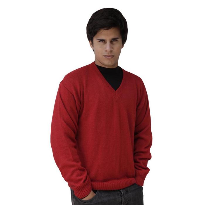 Mens Superfine Alpaca Wool Vneck Sweater SZ M Red (15K-035-842M)