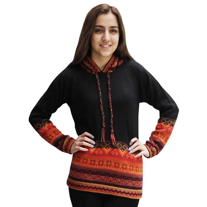 Womens Superfine Alpaca Wool Hooded Intarsia Sweater Black Size L (15M-033-500L)