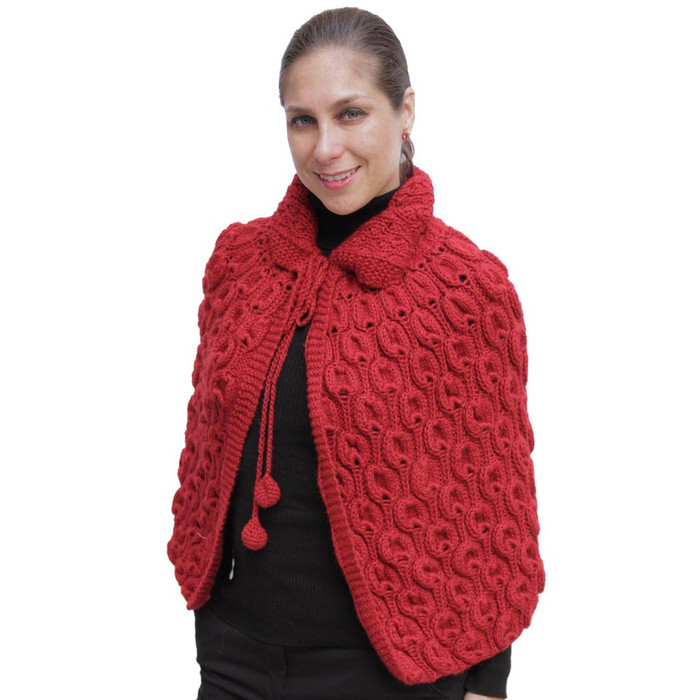 Superfine Alpaca Wool Hand Knitted Cape