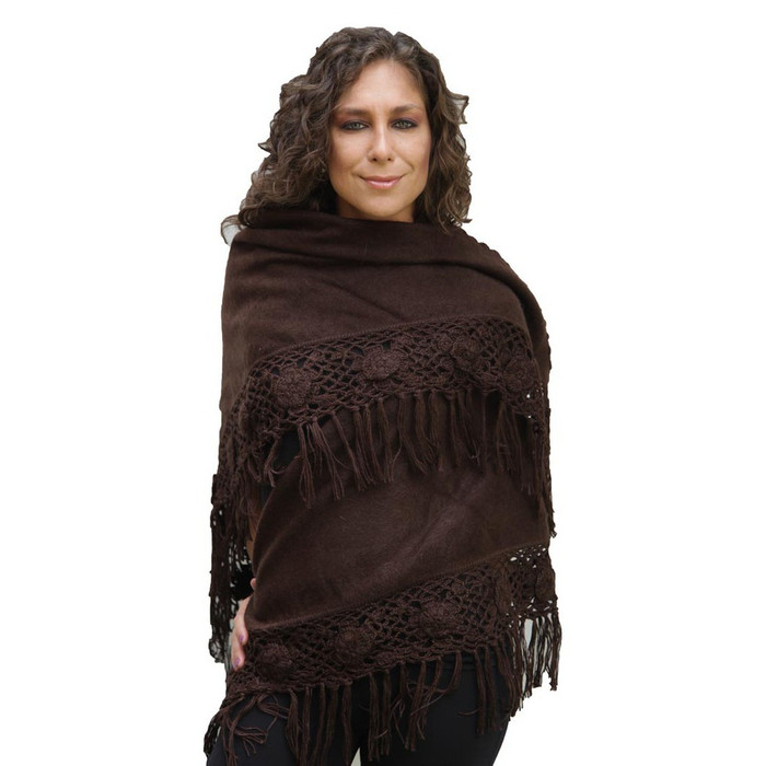 Alpaca Wool Winter Shawl Wrap Crocheted Fringe Triangular Shape