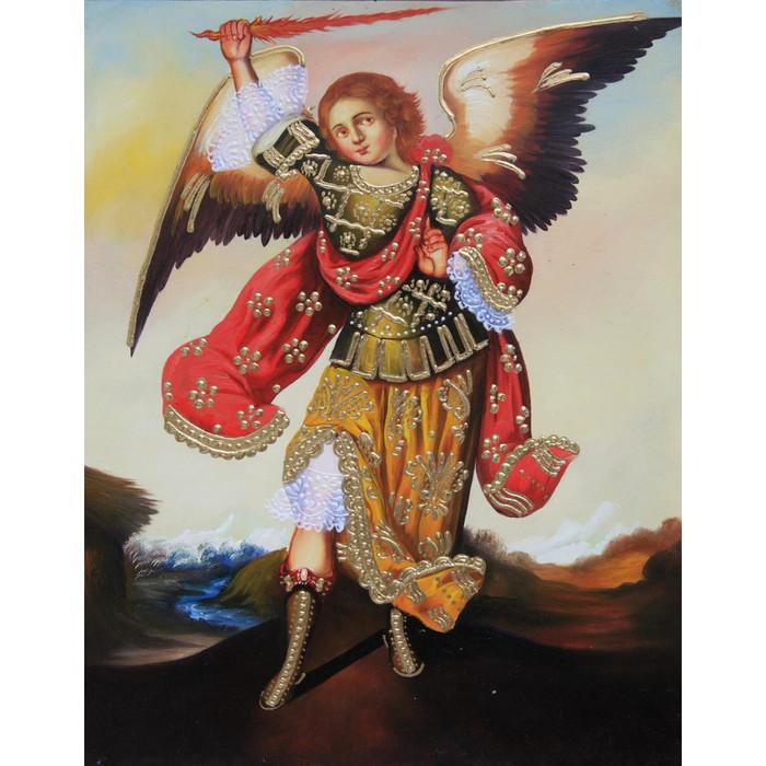 "Archangel Zadkiel Cuzco School Oil Painting On Canvas  10""H x 8""W (30-100-07115)"